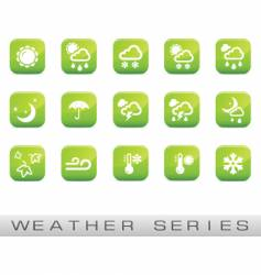 weather icons green glossy vector image vector image