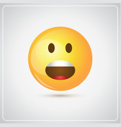 Yellow cartoon face screaming people emotion icon vector