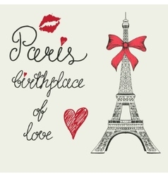 Eiffel tower with bow vector image