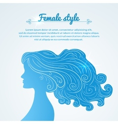 female profile with long hair and space for text vector image vector image