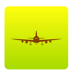 flying plane sign front view brown icon vector image vector image