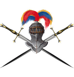 helmet and crossed swords vector image vector image