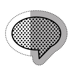 monochrome sticker of oval speech with tail and vector image