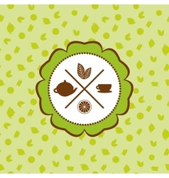 tea icons set with lemon seamless pattern on vector image vector image