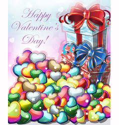 valentines day gifts with hearts vector image vector image