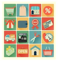 flat icons shopping set vector image vector image