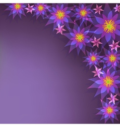 Floral purple background greeting card with vector image vector image