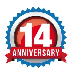 Fourteen years anniversary badge with red ribbon vector image