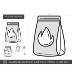 Grill charcoal line icon vector image vector image
