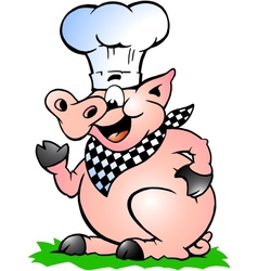 Hand-drawn of an Chef Pig standing and pointing vector image