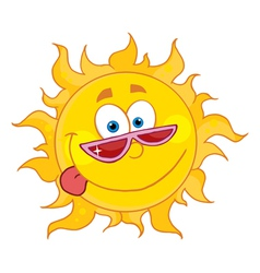 happy sun with shades vector image
