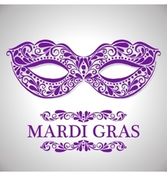 Mardi gras congratulation card with mask vector image