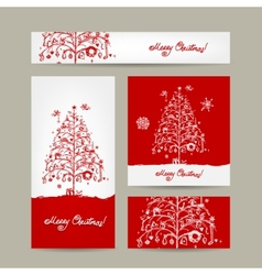Merry christmas set of postcards with winter tree vector image vector image