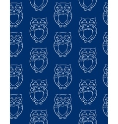 Seamless Pattern with White Owls Silhouettes vector image