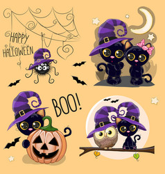 set of cute halloween vector image vector image