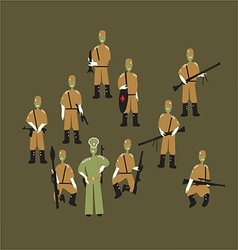 soldiers and officer vector image vector image