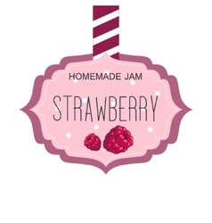 Sweet Strawberry Jam Pink Template Label With vector image vector image
