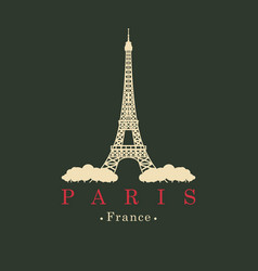 banner with eiffel tower in paris france vector image vector image