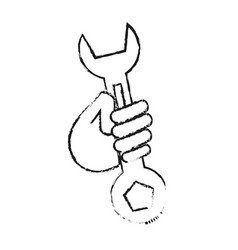 blurred silhouette cartoon man holding a wrench vector image