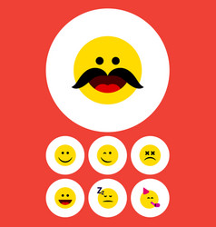 flat icon face set of cheerful joy laugh and vector image