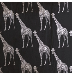 vintage of giraffe pattern on the old black vector image