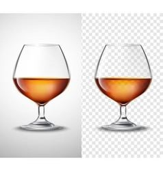 Wine glass with alcohol transparent banners vector
