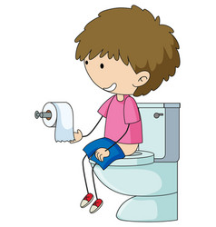 A boy in the toilet vector