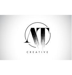 at brush stroke letter logo design black paint vector image