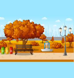autumn city park with town building vector image