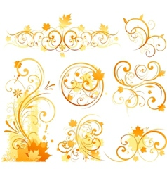 autumn floral ornament vector image