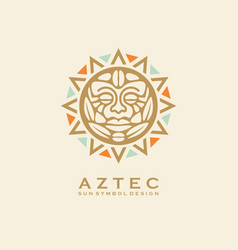 aztec tribal sun symbol with human face vector image