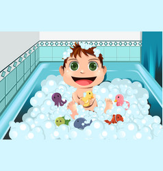 Baby taking bubble bath vector
