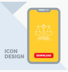 Balance decision justice law scale line icon in vector