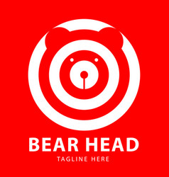 bear head logo circles design template vector image