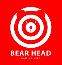 bear head logo circles design template vector image