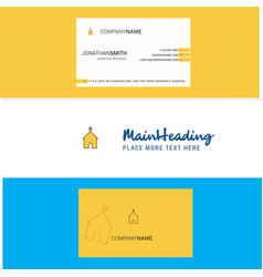beautiful church logo and business card vertical vector image