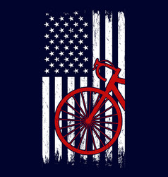 bicycle in usa flag vintage style t shirt design vector image