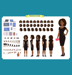Black girl in evening dress character vector