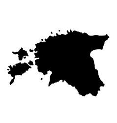 black silhouette country borders map of estonia vector image