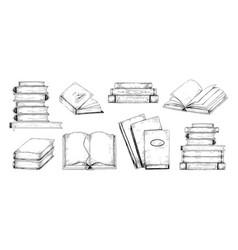 Books sketch vintage engraving of stacks vector