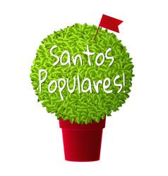 Bright realistic manjerico plant in red pot vector