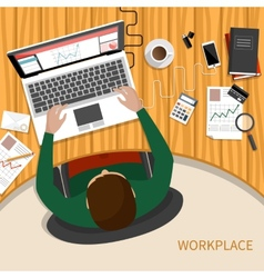 Business woman working with laptop and documents vector image