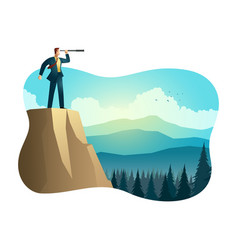 businessman using telescope on top mountain vector image