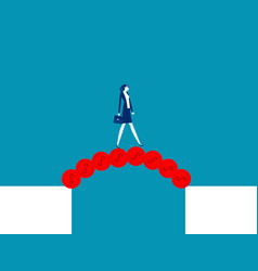 Businesswoman cross abyss with a bridge vector
