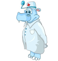 Cartoon character hippopotamus doctor vector