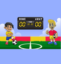 cartoon kids soccer player having match in the vector image
