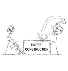 cartoon two workmen or labourers working vector image