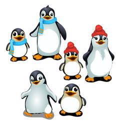 Cheerful family of penguins in a cap and scarf vector