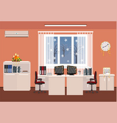 christmas decor office room interior holiday vector image