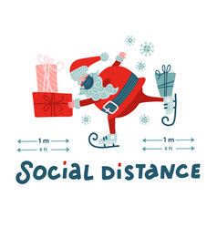Christmas social distancing infographic cute vector